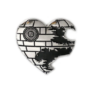 "By Yesterdays. Love is a Battle Station details: Soft enamel silver plated lapel pin. Black rubber backer. Measures 1"" x 1"". Please note that due to everyone's monitor displaying differently, the colors you see may vary."