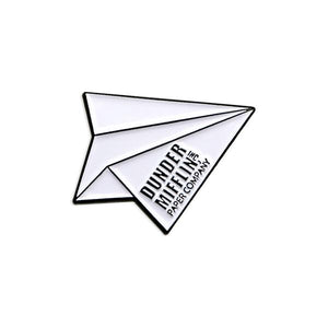 By Loudmouth Pin Co. Dunder Mifflin Airplane pin. Comes with one rubber backing.  Measures approximately 1 x 1 inches.