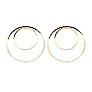 By TUMBLE. Double Hoop Gold Filled Earrings. 14k gold filled lightweight. All earring posts are sterling silver and comes with clear earring backs. Measures approximately 1.5 inches.