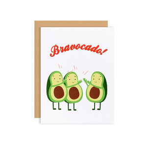 By Ilootpaperie. This folded Bravocado Card is printed on 100lb linen cardstock with subtle embossed arctic white linen finish. Inside is blank for a personal message. High quality, tan envelope with square flap included. Measures 4.25 x 5.5 inches. Also available in store at FOLD Gallery in DTLA.