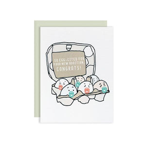 By Ilootpaperie. This folded Eggcited Baby Congrats Card is printed on premium cream linen textured 100lb cardstock. High quality, mint envelope with Euro flap included. Inside is blank for a personal message. Measures 4.25 x 5.5 inches.
