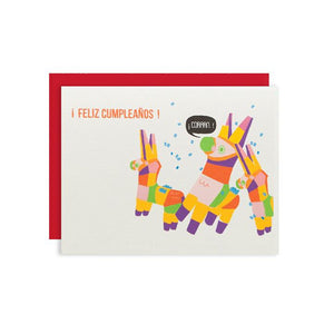 By Ilootpaperie. This folded Feliz Cumpleaños Piñata Birthday Card is printed on premium, rich and luxurious cream linen 100lb cardstock. Inside is blank for a personal message. High quality, red envelope with square flap included. Measures 4.25 x 5.5 inches.