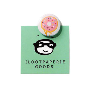 by Ilootpaperie. Grumpy Donut Button measures 1 inch in diameter.