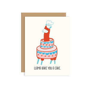 By Ilootpaperie. This folded Llama Bake You a Cake Card is printed on 100lb cardstock with subtle embossed arctic white linen finish. Blank inside for a personal message. High quality envelope with Euro flap included. Measures 4.25 x 5.5 inches.
