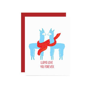 By Ilootpaperie. This folded Llama Love You Forever Card is printed on 100lb cardstock with subtle embossed arctic white linen finish. Blank inside for a personal message. High quality, red envelope with square flap included. Measures 4.25 x 5.5 inches. Also available in store at FOLD Gallery DTLA.
