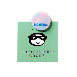 by Ilootpaperie. Los Angeles Button. Measures 1 inch in diameter. Also available in store at FOLD Gallery DTLA.