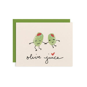 By Ilootpaperie. This folded Olive Juice Card is printed on premium, rich and luxurious cream 100lb cardstock. Inside is blank for a personal message. High quality, olive green envelope with square flap included. Measures 4.25 x 5.5 inches. Also available in store at FOLD Gallery DTLA.