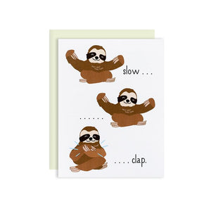By Ilootpaperie. This folded Slow Clap Sloths Congratulations Card is Indigo Press printed on premium cream linen textured 100lb cardstock. Inside is blank for a personal message. High quality, mint envelope with square flap included.Measures 4.25 x 5.5 inch.