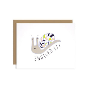 By Ilootpaperie. This folded Snailed It Card is printed on 100lb linen cardstock with subtle embossed white linen finish. Inside is blank for a personal message. High quality, tan envelope with square flap included. Measures 4.25 x 5.5 inches