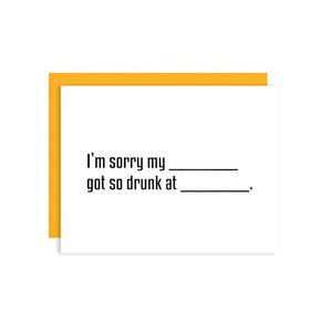 By Ilootpaperie. This folded Sorry So Drunk Card is printed on 100lb cardstock with subtle embossed soft white linen finish. Blank inside for a personal message. High quality envelope with square flap included. Measures 4.25 x 5.5 inches.