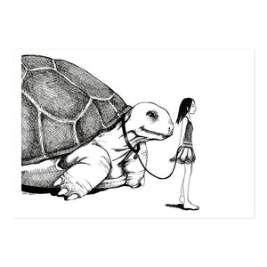 By kAt Philbin. Tortoise Walk Print. Print of original drawing on card stock. Printed locally in Burbank, CA. Measures 5 x 7 inches with a small border around the image. Also available in store at FOLD Gallery DTLA.