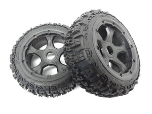 "Rovan 4.7/5.5"" Baja 5B Rear Trencher Tyres on Black Rims - Beadlocked Wheels 2Pcs #ROV-95193"