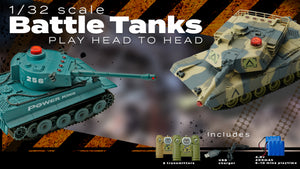 2.4 GHZ BATTLE TANKS, W/LIGHTS & SOUNDS