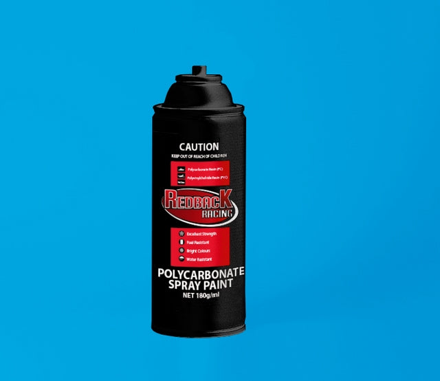 REDBACK RACING PAINT, P.CARB,TRANS. L.BLUE, 180ML SPRY RBPCS039