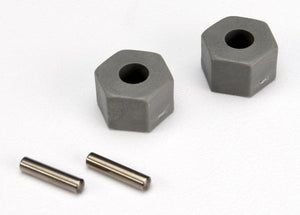TRAXXAS Wheel hubs, hex (tall offset, Rustler/Stampede front) (2)/ axle pins (2.5x10mm) (2) #3654