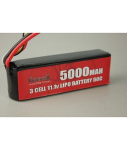 REDBACK RACING BATTERY, 11.1V LIPO, 5000MAH 50C,SOFT