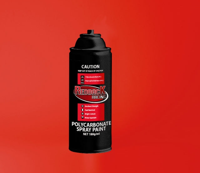 REDBACK RACING PAINT, P.CARB,BRIGHT RED, 180ML SPRY RBPCS034