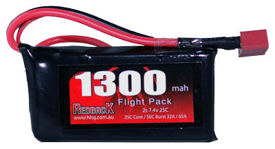 REDBACK RACING BATTERY,7.4V LIPO, 1300MAH 30C, FLIGHT RBLP2C13