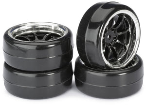 "Absima Wheel Set Drift LP "" 9 Spoke / Profile B"" black/chrome 1:10 (4 pcs)"
