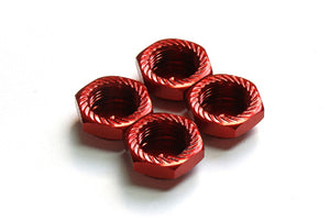 ARGUS 1/8 SCALE Serrated Cap Nut M12*1.0 Red (4pcs)-Alumina material AG05-260101