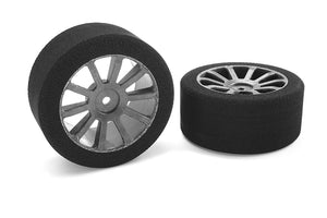 Team Corally - Attack foam tires - 1/10 GP touring - 35 shore - 30mm Rear - Carbon rims - 2 pc
