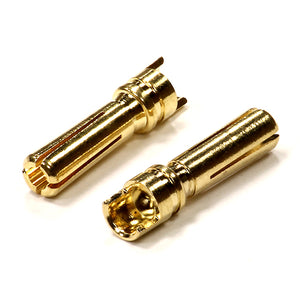 GOLD PLATED 4MM SIZE HIGH CURRENT BULLET CONNECTOR (2) MALE C24046