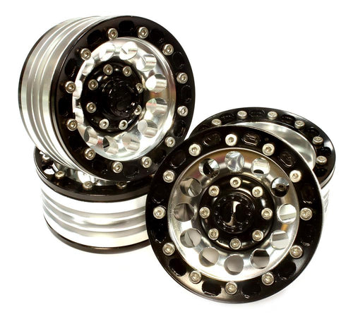 1.9 Size Billet Machined Alloy 12H Wheel (4) High Mass Type for Scale Crawler C25619BLACK