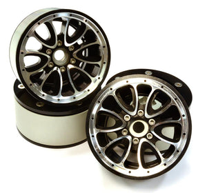 Billet Machined High Mass 12 Spoke 2.2 Size Wheel (4) for 1/10 Axial Wraith 2.2 #C25848BLACK