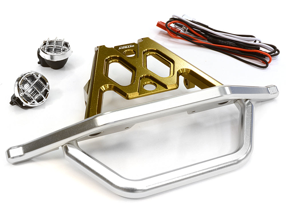 BILLET MACHINED FRONT BUMPER SET W/ LED LIGHTS FOR AXIAL 1/10 YETI ROCK RACER