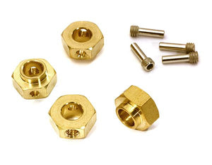 12mm Hex Wheel (4) Hub Brass 5mm Thick for Traxxas TRX-4 Scale & Trail Crawler