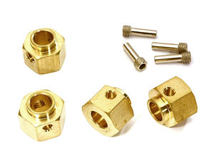 12mm Hex Wheel (4) Hub Brass 8mm Thick for Traxxas TRX-4 Scale & Trail Crawler C28090
