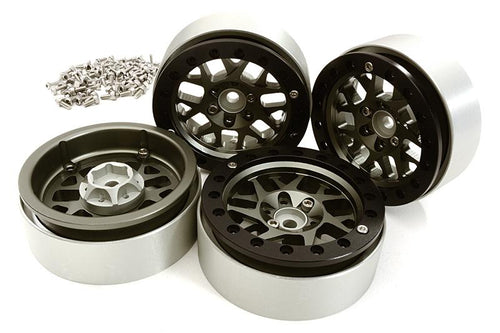 Billet Machined 2.2 Size 14 Spoke Wheels w/ +3 Adapters for Traxxas TRX-4 #C28252