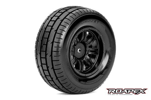 ROAPEX TRIGGER 1/10 SC TIRE BLACK WHEEL WITH 12MM HEX MOUNTED