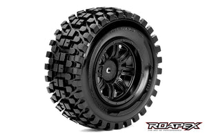 RYTHM 1/10 SC TIRE BLACK WHEEL WITH 12MM HEX MOUNTED