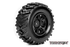 ROPEX MORPH 1/10 SC TIRE BLACK WHEEL WITH 12MM HEX MOUNTED