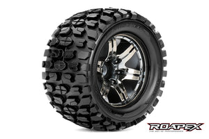 ROAPEX TRACKER 1/10 MONSTER TRUCK TIRE CHROME BLACK WHEEL WITH 1/2 OFFSET 12MM HEX MOUNTED