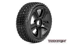 ROAPEX ROLLER 1/8 BUGGY TIRE BLACK WHEEL WITH 17MM HEX MOUNTED (2pc)