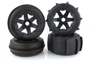 "Rovan 4.7/5.5"" Baja 5B Sand Buster Tyres on Black Rims - Beadlocked Wheel Set # 850492A"