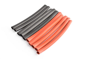 TORNADO RC 6mm PE heat shrink red & black-10cm long, 5sets/bag