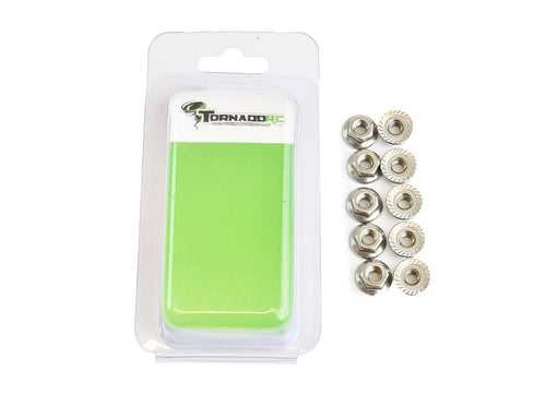 TORNADO RC 5MM FLANGED SERRATED NUT 10 PER PACK