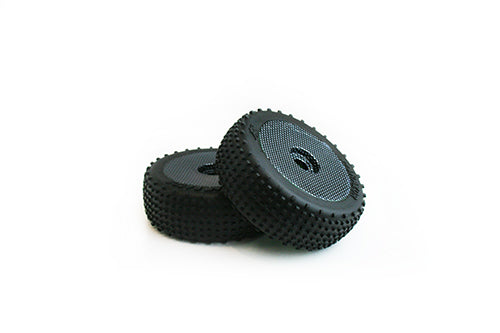 TORNADO RC 1/8 BUGGY TYRES 1 PAIR PRE GLUED CARBON FINISH RIM