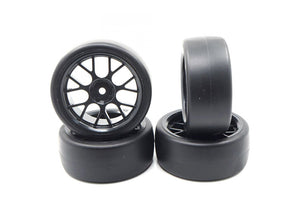 "Yeah Racing 1.9"" (+3mm Off-Set) Spec D Drift Tyres on Black Mesh Rims - Wheels 4Pcs"