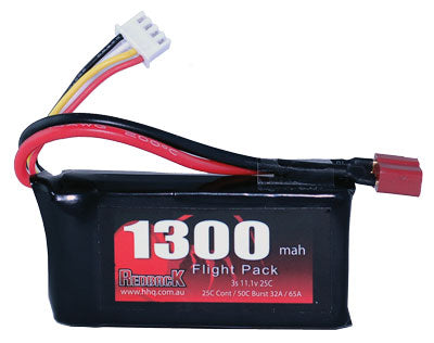 REDBACK RACING BATTERY,11.1V LIPO, 1300MAH 25C, FLIGHT RBLP3C13