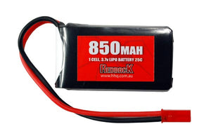 REDBACK RACING BATTERY, 3.7V LIPO, 850MAH 25C, FLIGHT RBLP1C085