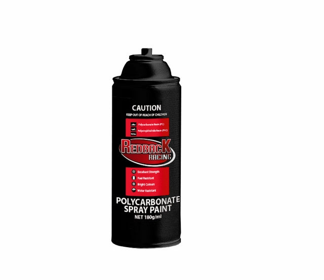 REDBACK RACING PAINT, P.CARB,FLAT CLEAR, 180ML SPRY RBPCS055