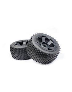 "Rovan 4.7/5.5"" Baja 5B Rear Dirt Buster Tyres on Black Rims - Beadlocked Wheels 2Pcs #850232"