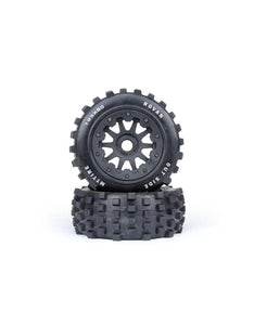 "Rovan 4.7/5.5"" Baja 5T/5SC Rear MX Tyres on Black Rims - Beadlocked Wheels 2Pcs"
