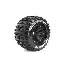Louise LT3218BH MT-Pioneer 1/8 Monster Truck Tyres Black Glued with Rim (2pcs)/ Sport Compound 1/2