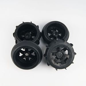 "Rovan 4.7/5.5"" Baja 5B Sand Buster Tyres on Black Rims - Beadlocked Wheel Set"