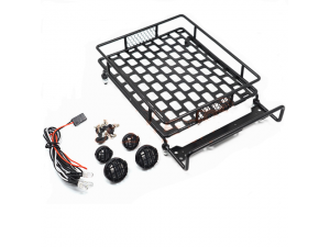 Roof Luggage Rack with LED Light Bar for 1/8, 1/10 RC Cars L*W*H=140*110*43mm(DTLR01006)